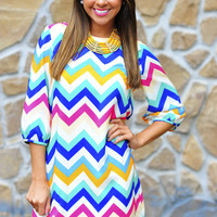 *Life Of The Party Chevron Dress: Ivory* | Hope's