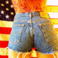 Vintage High Waisted Levi's Button-fly Cutoff Jeans Shorts
