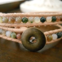 Jasper Beaded Leather Wrap Bracelet by ma1010 on Etsy