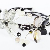Amazon.com: Onyx and Smoky Topaz Gem Stone with Swarovski Crystal Bead Bracelet Butterfly and Flower Set Handmade By Flower Gemstone: Arts, Crafts & Sewing