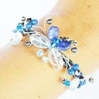 Amazon.com: Lapis Lazuli and Blue Topaz Gem Stone with Swarovski Crystal Bead Bracelet Butterfly and Flower Set Handmade By Flower Gemstone: Arts, Crafts &amp; Sewing