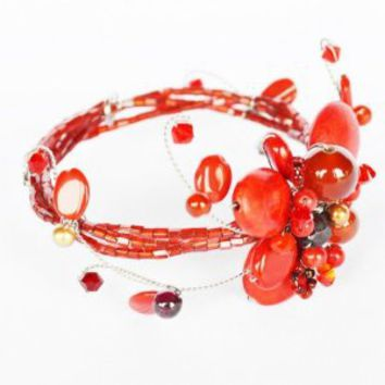 Amazon.com: Red Jasper and Carnelian Gem Stone with Swarovski Crystal Bead Bracelet Summer Set Handmade By Flower Gemstone: Arts, Crafts & Sewing