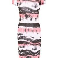 Oilot Jacey Tie Dye Cap Sleeve Midi Dress in Multi Color
