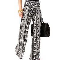 White/Black Fold Over Waist Tribal Pants