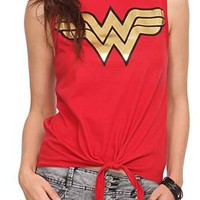 DC Comics Wonder Woman Tie Front Top - 301155