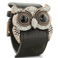 Leather and Crystal Owl Cuff Bracelet: Jewelry