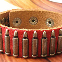 Punk Rock Red Leather Bracelet Cool Bracelet  Women Bracelet Men Leather Bracelet Bracelet Mens Bracelet 1075S