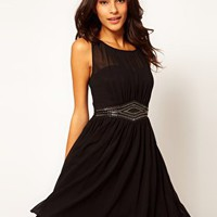 Little Mistress Embellished Waistband Dress at asos.com