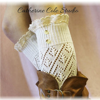 CREAM Pointelle lace 2 button legwarmerslightweight knit design LW29 Catherine Cole Studio womens leg warmers