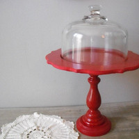 gorgeous Red dessert stand with cloche dome  by MamaLisasCottage