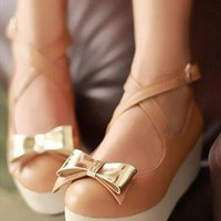 Tan Gold Bow Mary Jane Cross Strap Platform Flatforms from Velvetlovechild
