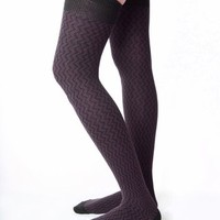 RocknSocks Diddley Thigh High Socks - Plum