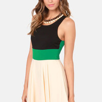 Three-sy Does It Black, Green, and Cream Dress