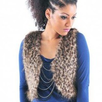 Leopard Print Fur Sleeveless Crop Vest