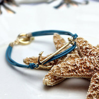 Anchor Nautical Aqua Blue Cord Toggle Bracelet