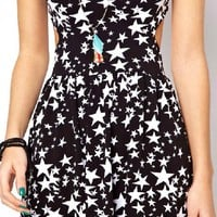Hollow Out Stars Print Dress