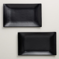 Matte Black Sushi Plates, Set of 2