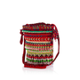 Red beaded mini duffel bag