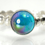 Topaz Stacking Ring, Silver Bead Ring with Rainbow Topaz