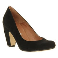 Office BELLE COURT BLACK SUEDE Shoes - Womens Mid Heels Shoes - Office Shoes