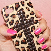 iPhone 5 case cute stud studs cheetah cross stud by shopwilddaisy