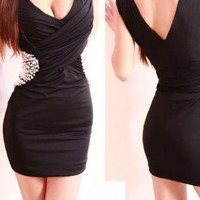 Black Club Hip Pack Sexy Low-cut Sequin Dress