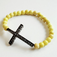 10% OFF Yellow Gunmetal Sideway Cross Elastic Gemstone Bracelet/ Mothers Day Gift, Prom Jewelry