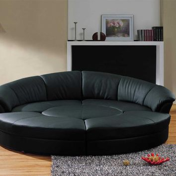 Vig Furniture Modern Black Leather Circular Sectional Sofa- Circle