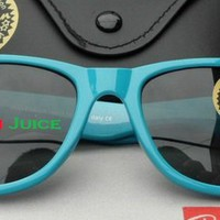 Ray Ban Wayfarer RB2140 Light Blue Frame W/ Dark Green Lens R51 from RayBan Juice