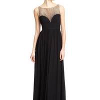 AIDAN MATTOX Black Sweetheart Sheer Top Gown
