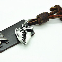 soft leather fish pendant necklace men's leather necklace, women's leather necklace  RZ0220