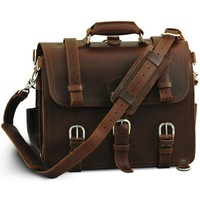 """A Chestnut Leather Briefcase, Backpack, Handbag """"They'll Fight Over When You're Dead"""" (Large)"""