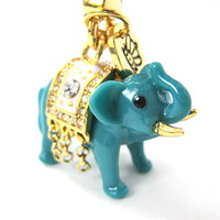 Limited Edition Handmade - Turquoise Elephant Animal Charm Necklace from Dotoly