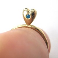ONE DOLLAR SALE - Simple Gold Heart Shaped Ring Size 5.5 ONLY
