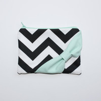 Cosmetic Case / Zipper Pouch - Black and White Chevron with Mint Side Bow