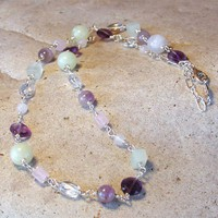 Amethyst, Multi Quartz, Jadeite, and Sterling Silver Station Necklace