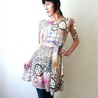 Another Scenario - iheartfink Handmade Hand Printed Art Graffiti Style Print  Womens Colorful  Dress