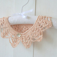 Soft Peach Peter Pan Crochet Collar