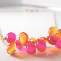 Orange, Pink Festive Glass Drops Party Necklace, Gold, Brightly Colored  Fashion Accessory, Brighten Your Day, Your Daily Jewels