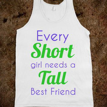 short and tall best friends-Unisex White Tank