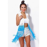 White/blue ombre open knit retro vest