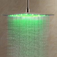 LightInTheBox 12 Inch Wall Mount Square Rainfall LED Shower Head, Stainless Steel