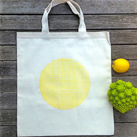 Organic Cotton Tote Bag Geometric Tote Hand Painted Shopping Bag Yellow Polka Dots