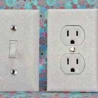 SET of SNOWY WHITE GLITTER Switch Plates / Outlet Covers ANY STYLES