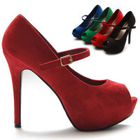 ollio Womens Pumps Platforms Mary Jane Open Toe High Heels Faux-Suede Shoes