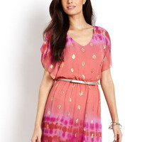 HALE BOB Rust Flutter Sleeve Pleated Dress