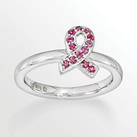 Stacks and Stones Sterling Silver Pink Crystal Ribbon Stack Ring - Made with Swarovski Elements