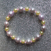 Lavender Lemon Glass Pearl Stretch Bracelet