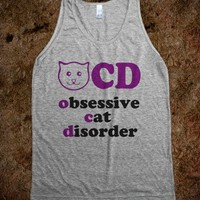 OCD Obsessive Cat Disorder (Tank) - The Coffee Shop - Skreened T-shirts, Organic Shirts, Hoodies, Kids Tees, Baby One-Pieces and Tote Bags