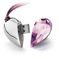 8GB Shiny Crystal Heart Shape USB Flash Drive with Necklace,light pink